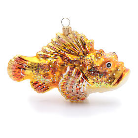 Blown glass Christmas ornament, red lionfish s1