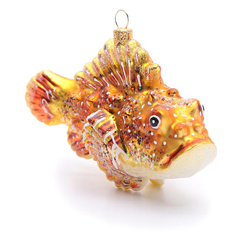 Blown glass Christmas ornament, red lionfish 2