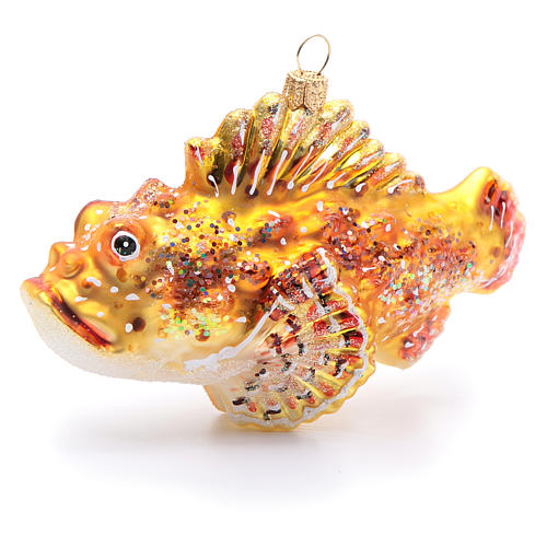 Blown glass Christmas ornament, red lionfish 3