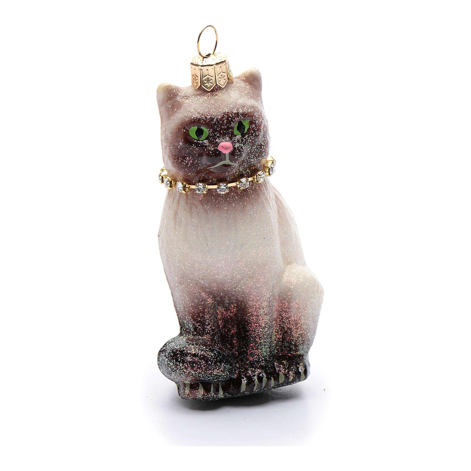Décoration pour sapin de Noël verre soufflé chat siamois 4
