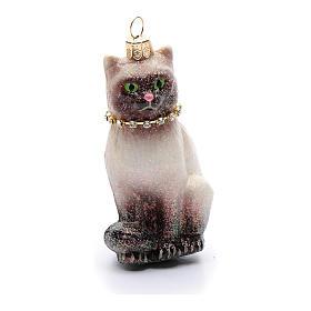 Décoration pour sapin de Noël verre soufflé chat siamois s1