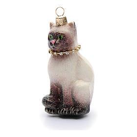 Décoration pour sapin de Noël verre soufflé chat siamois s2