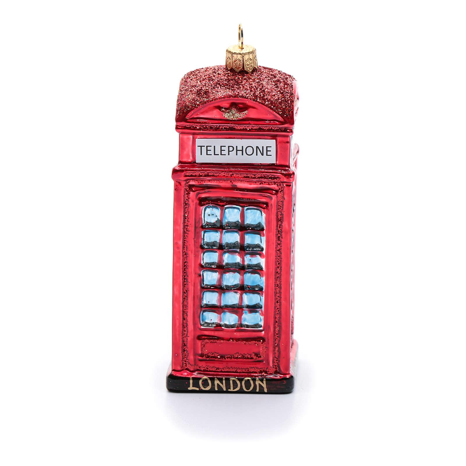 Cabina telefónica inglés adorno vidrio soplado Árbol de Navidad 4