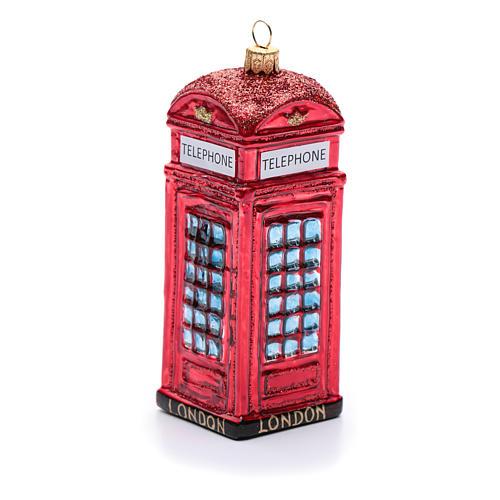 Cabina telefónica inglés adorno vidrio soplado Árbol de Navidad 1