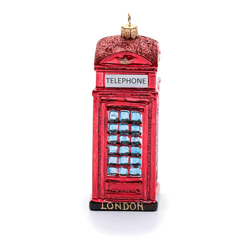 Cabina telefónica inglés adorno vidrio soplado Árbol de Navidad 2