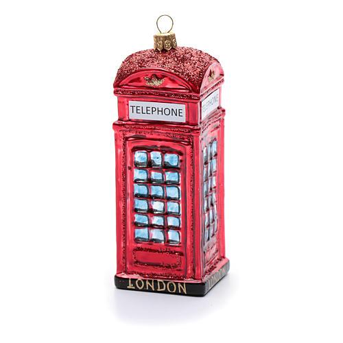 Cabina telefónica inglés adorno vidrio soplado Árbol de Navidad 3