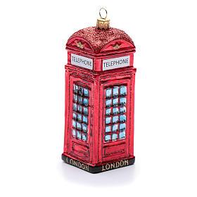 Cabina telefonica inglese addobbo vetro soffiato Albero Natale s1