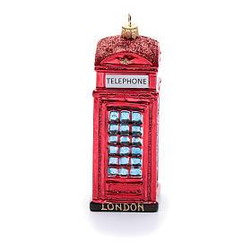 Cabina telefonica inglese addobbo vetro soffiato Albero Natale s2