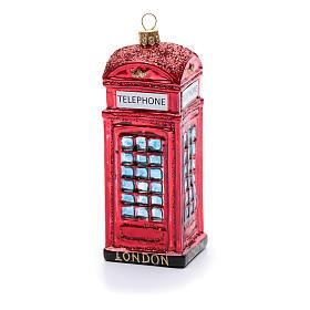 Cabina telefonica inglese addobbo vetro soffiato Albero Natale s3
