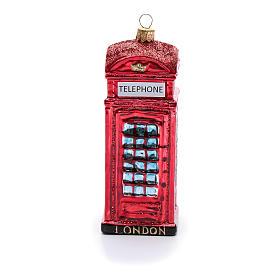 Cabina telefonica inglese addobbo vetro soffiato Albero Natale s4
