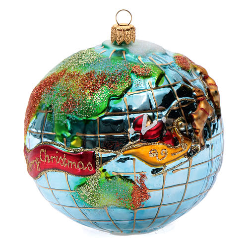 Weihnachtsmann um die Welt mundgeblasenen Glas für Tannenbaum 4