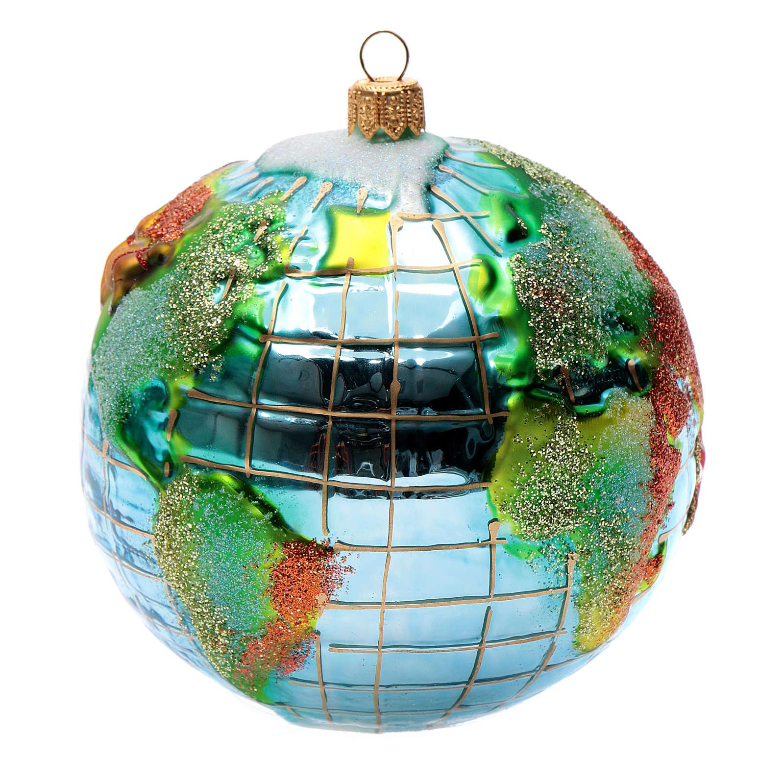 Papá Noel Mundo adorno vidrio soplado Árbol de Navidad 4