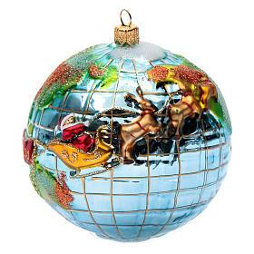 Décorations sapin verre soufflé: Décoration pour sapin de Noël verre soufflé Père Noël globe-trotter
