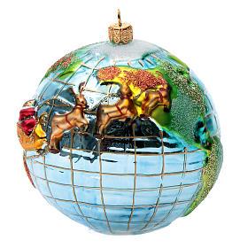 Décoration pour sapin de Noël verre soufflé Père Noël globe-trotter s2