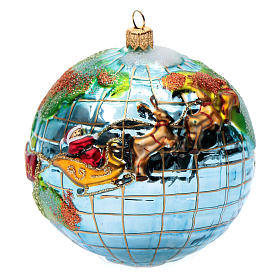 Blown glass Christmas ornament, Santa Claus around the world s1