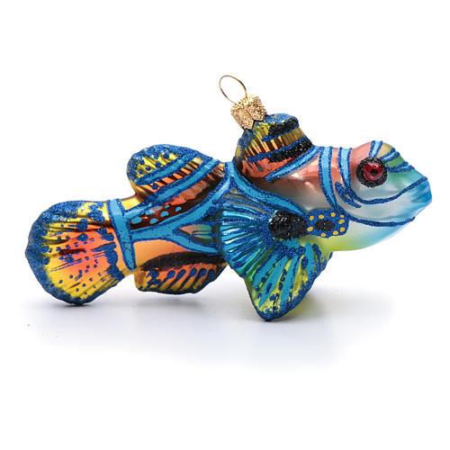 Blown glass Christmas ornament, mandarinfish 1
