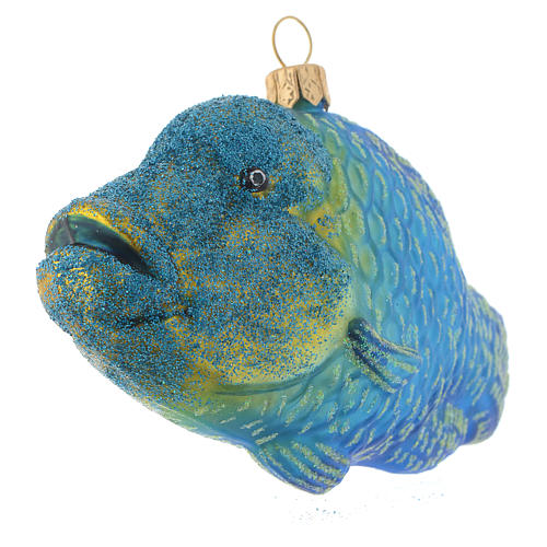 Blown glass Christmas ornament, humphead wrasse 2