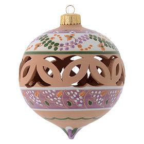 Palla di Natale traforata a punta terracotta Deruta 100 mm s1