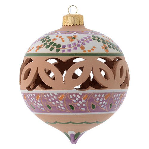 Palla di Natale traforata a punta terracotta Deruta 100 mm 1