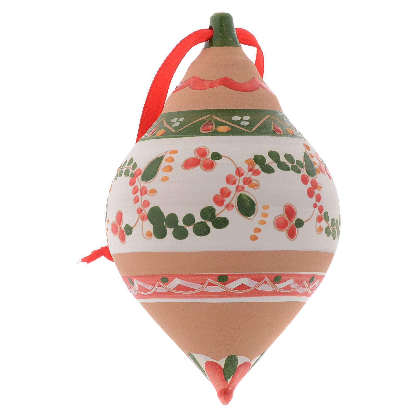 Pallina per l'albero di Natale a doppia punta terracotta 120 mm 4