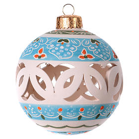 Christmas ball in white decorated terracotta diam. 80 mm s1