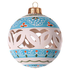 Christmas ball in white decorated terracotta diam. 80 mm s2