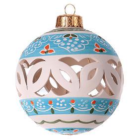 Pallina bianca traforata per Natale terracotta 80 mm s2