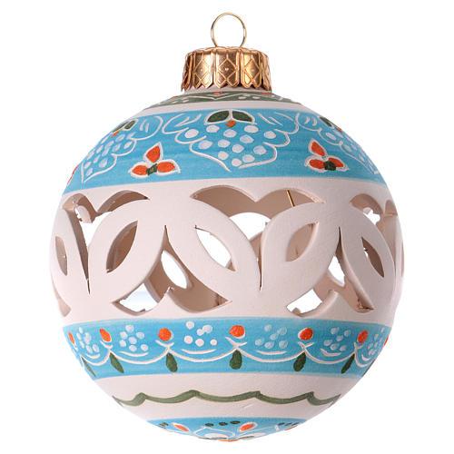 Pallina bianca traforata per Natale terracotta 80 mm 2