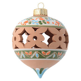 Country pointed drilled Christmas bauble for Christmas tree in terracotta 80 mm s1