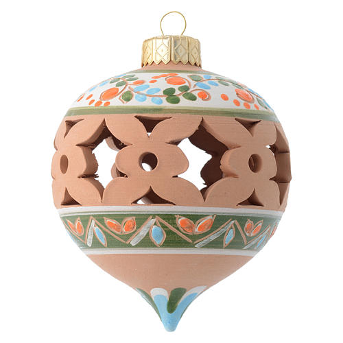 Country pointed drilled Christmas bauble for Christmas tree in terracotta 80 mm 1