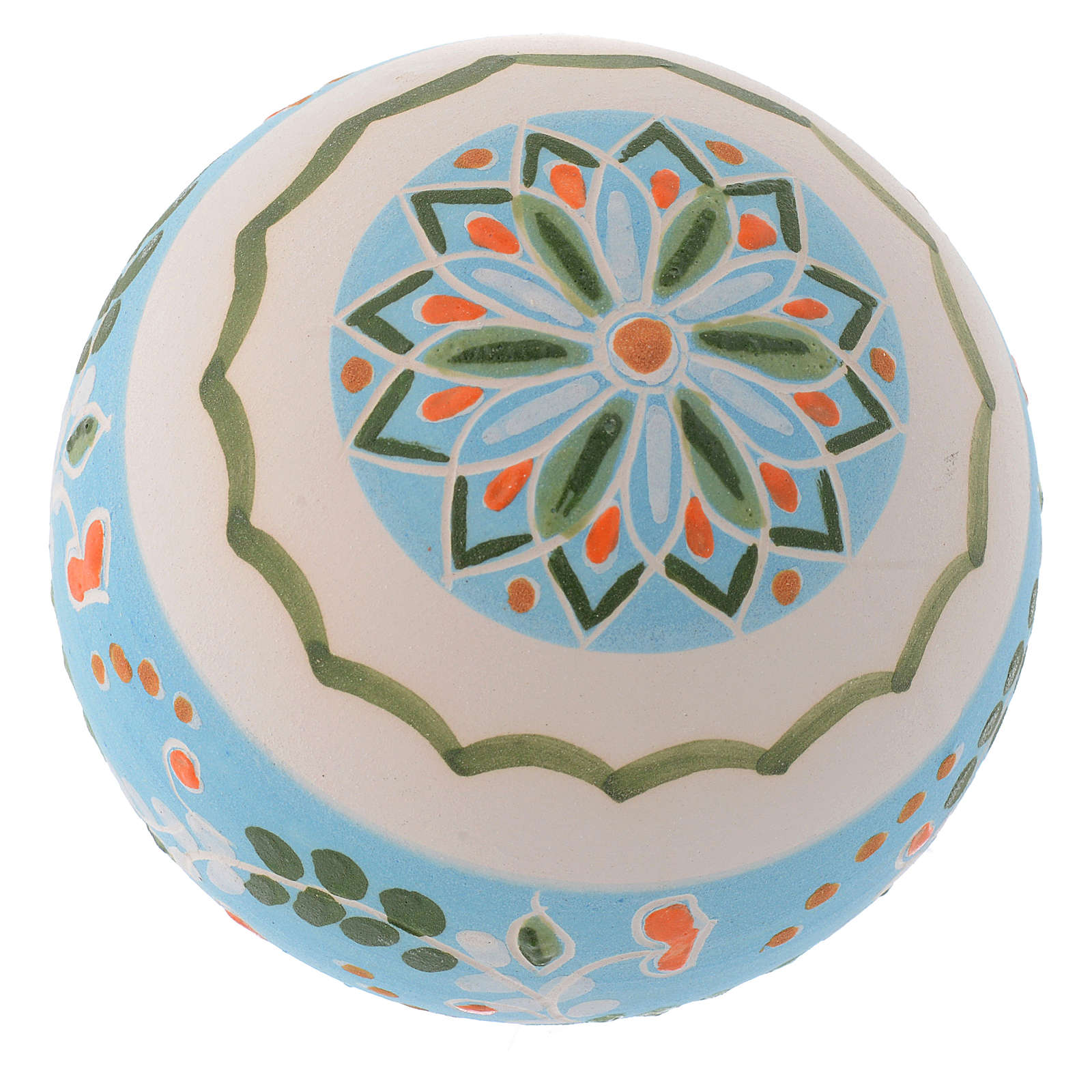 Boule blanche ronde pour sapin terre cuite Deruta 80 mm 4