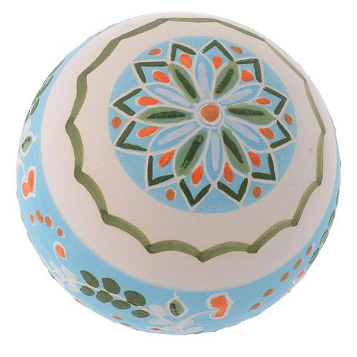 Boule blanche ronde pour sapin terre cuite Deruta 80 mm 2