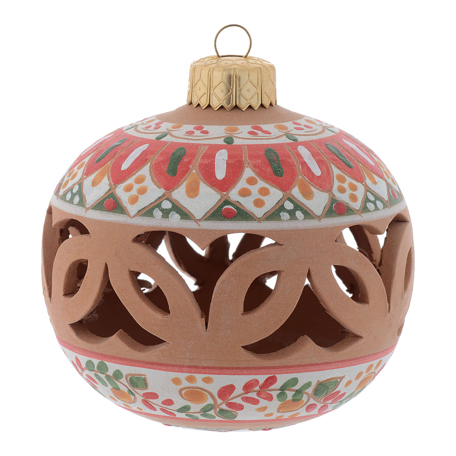 Drilled country terracotta Christmas bauble Deruta 80 mm 4