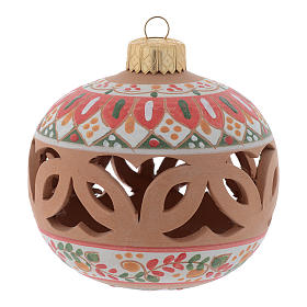 Drilled country terracotta Christmas bauble Deruta 80 mm s1