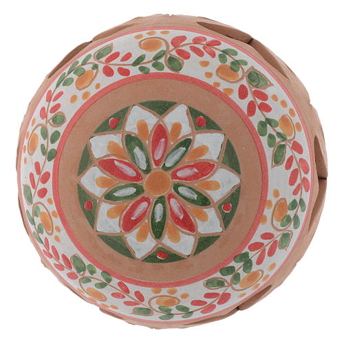 Drilled country terracotta Christmas bauble Deruta 80 mm 2
