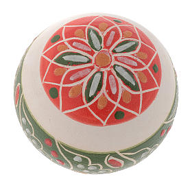 White Christmas bauble in terracotta from Deruta 50 mm s2