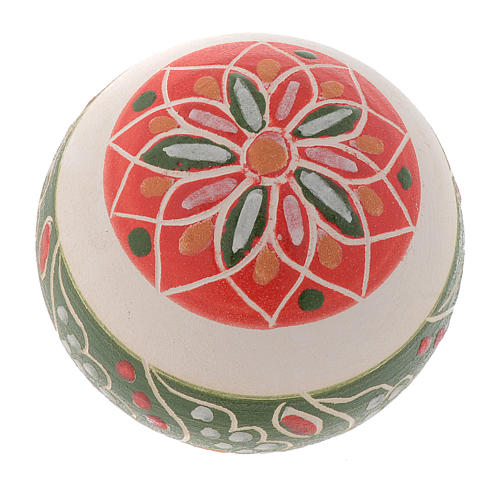 White Christmas bauble in terracotta from Deruta 50 mm 2