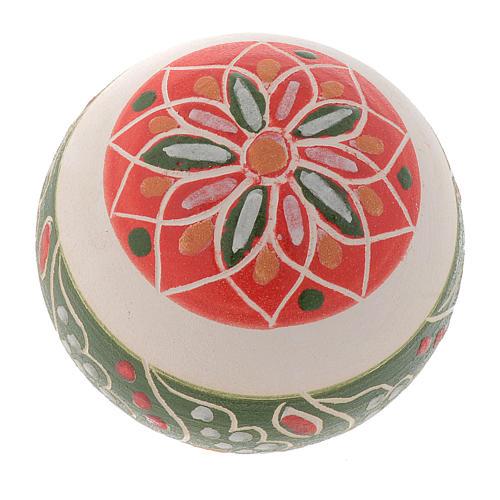 Boule blanche Noël en terre cuite Deruta 50 mm 2