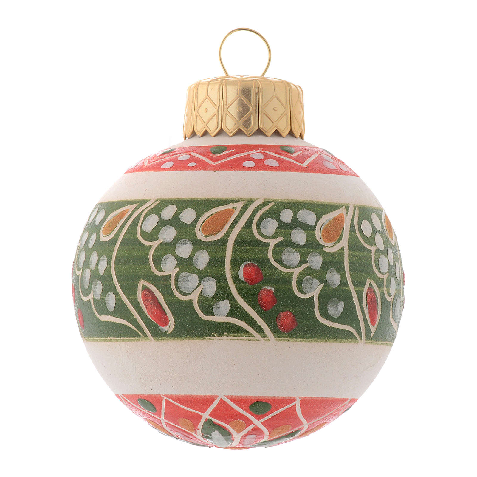 White Christmas bauble in terracotta from Deruta 50 mm 4