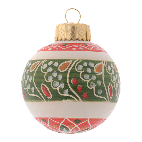 White Christmas bauble in terracotta from Deruta 50 mm 1