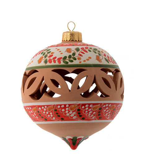 Drilled pointed Christmas bauble in terracotta from Deruta 100 mm red and white 1