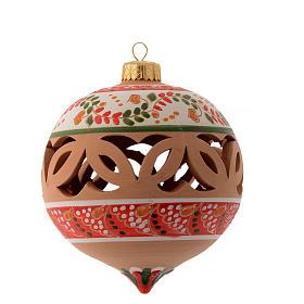 Pallina di Natale in terracotta a punta con fori di 100 mm rosso e bianco s1
