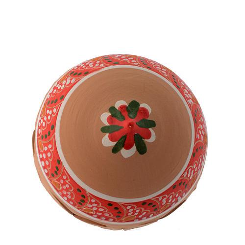 Pallina di Natale in terracotta a punta con fori di 100 mm rosso e bianco 2