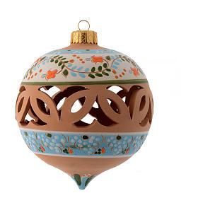 Palla di Natale a punta azzurra 100 mm terracotta Deruta azzurro s1