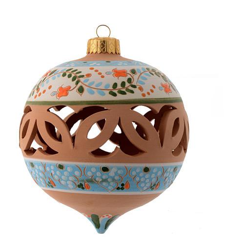 Palla di Natale a punta azzurra 100 mm terracotta Deruta azzurro 1