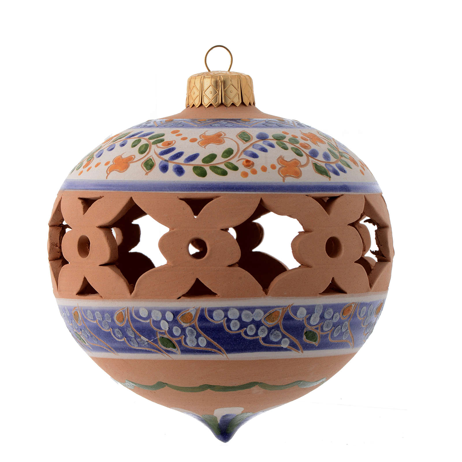 Pointed blue Christmas bauble in terracotta from Deruta 100 mm 4