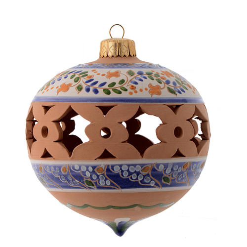 Pointed blue Christmas bauble in terracotta from Deruta 100 mm 1