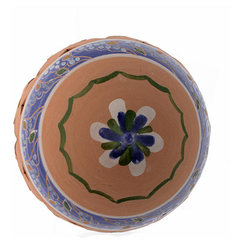 Pointed blue Christmas bauble in terracotta from Deruta 100 mm 2