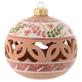 Bola Árbol de Navidad terracota Deruta 100 mm rosado pálido s1