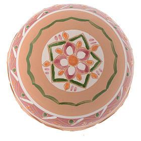 Palla Albero di Natale terracotta Deruta 100 mm rosa antico s2